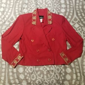 Positive Attitude Petite Red Jacket Gold Size 4